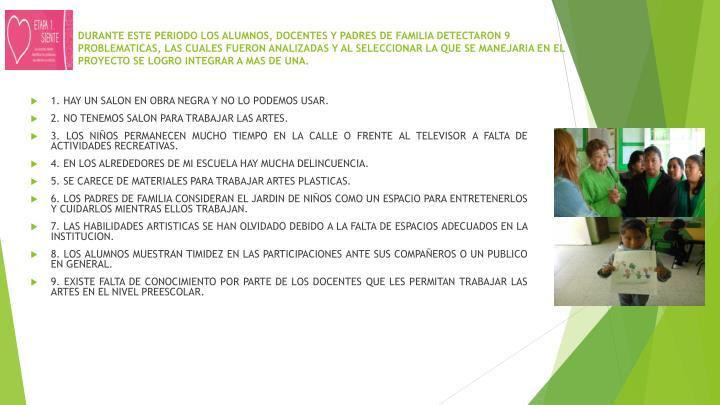DURANTE ESTE PERIODO LOS ALUMNOS, DOCENTES Y PADRES DE FAMILIA DETECTARON 9 PROBLEMATICAS, LAS CUALE...