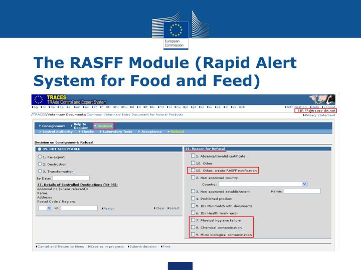 The rasff module rapid alert system for food and feed