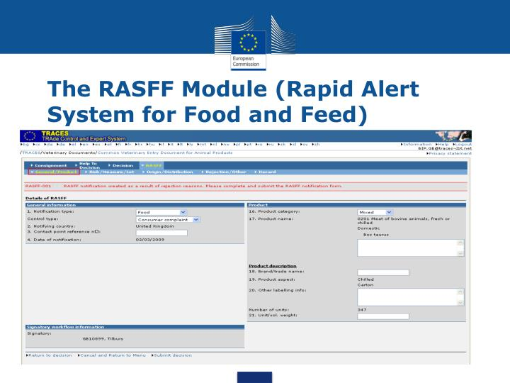 The rasff module rapid alert system for food and feed1