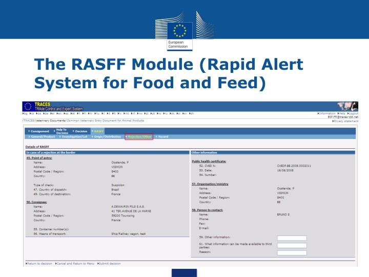 The RASFF Module (Rapid Alert System for Food and Feed)
