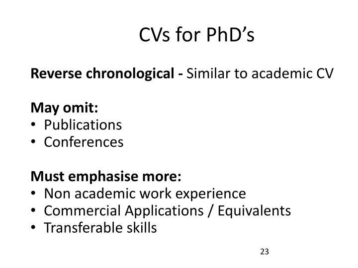 CVs for PhD's