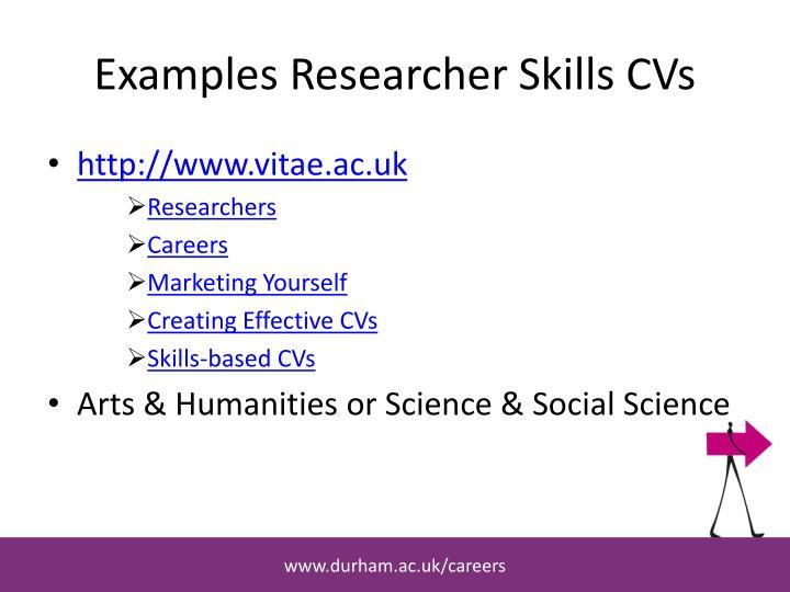 Examples Researcher Skills CVs