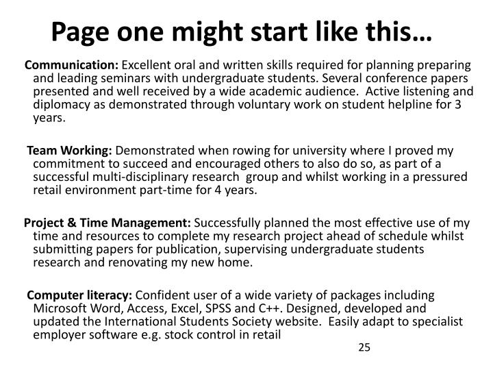 Page one might start like this…