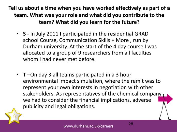 Tell us about a time when you have worked effectively as part of a team. What was your role and what did you contribute to the team? What did you learn for the future?