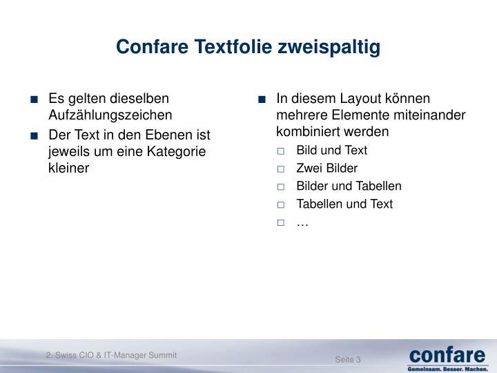 Confare textfolie zweispaltig