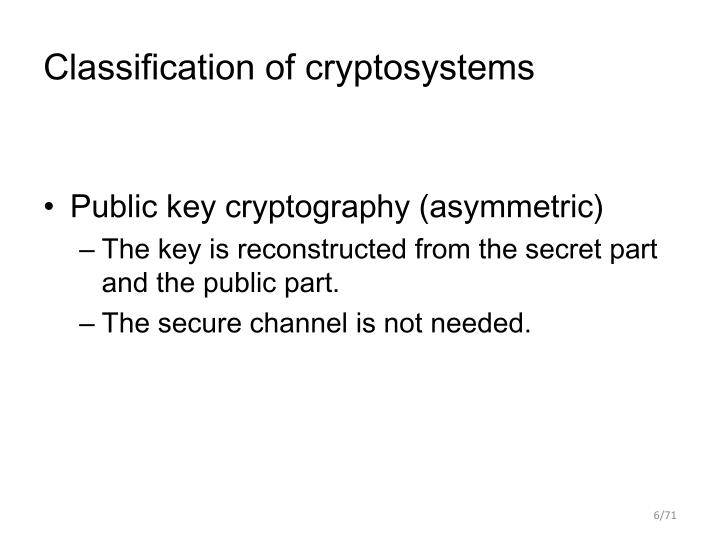 Classification of cryptosystems