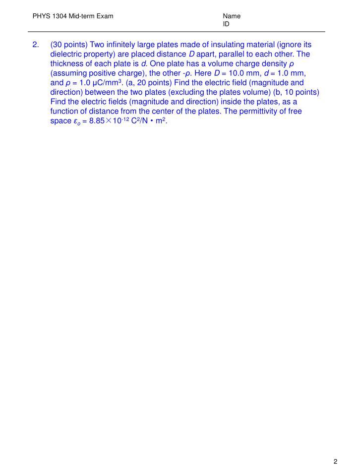 Phys 1304 mid term exam name id1