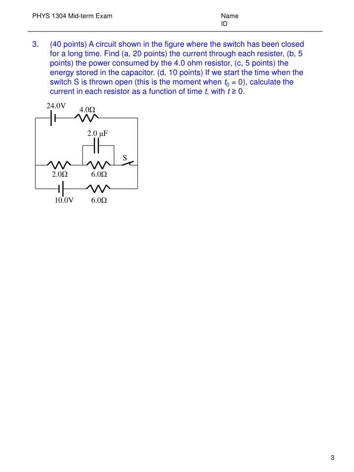 Phys 1304 mid term exam name id2