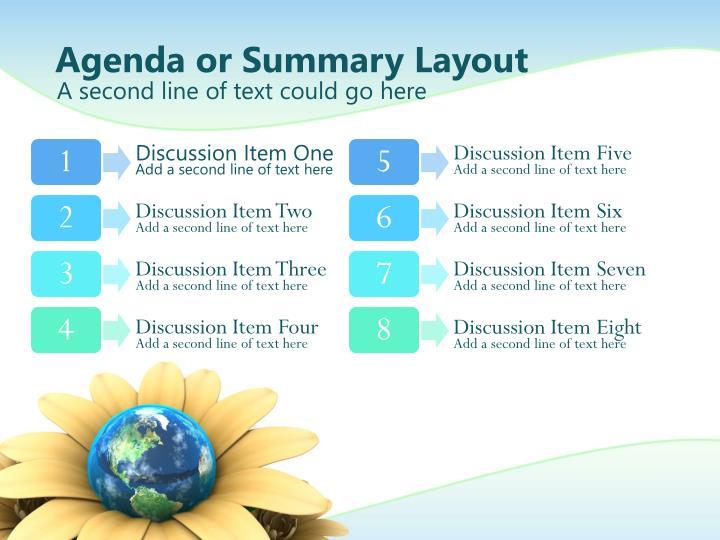 Agenda or summary layout