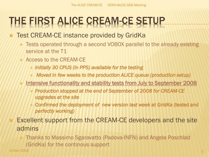 Test CREAM-CE instance