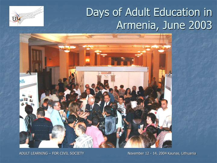 Days of Adult Education in Armenia, June 2003