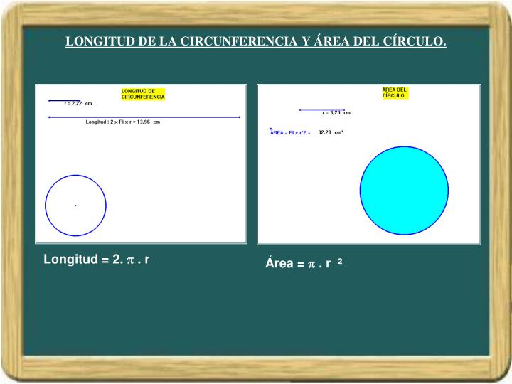 LONGITUD DE LA CIRCUNFERENCIA Y ÁREA DEL CÍRCULO.