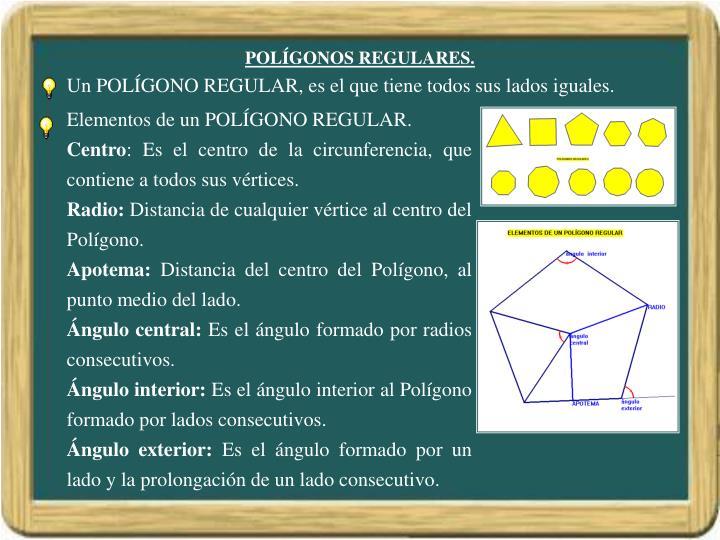 Elementos de un POLÍGONO REGULAR.