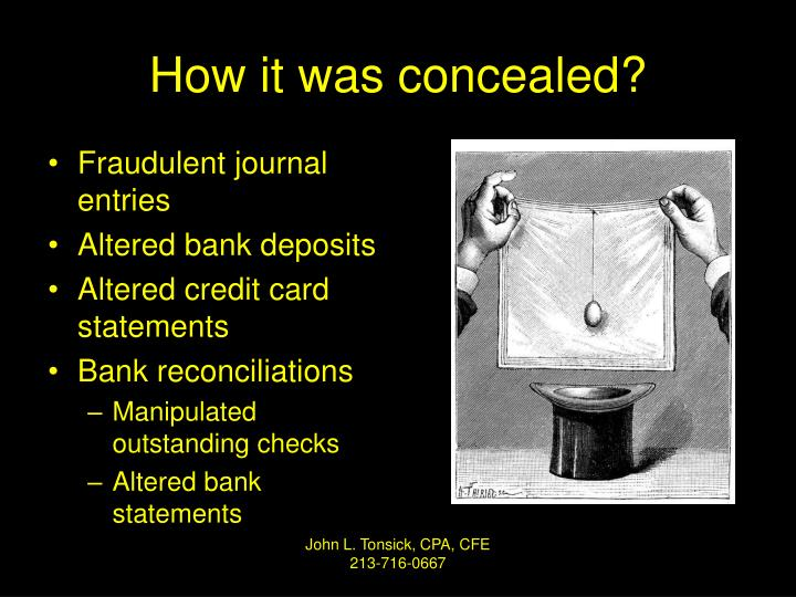 How it was concealed?