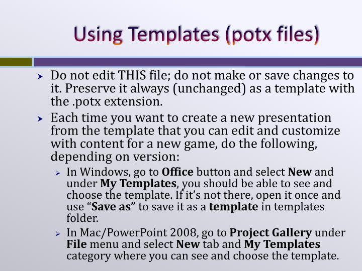 Using templates potx files