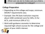 what can we do to make sure our child is prepared for college
