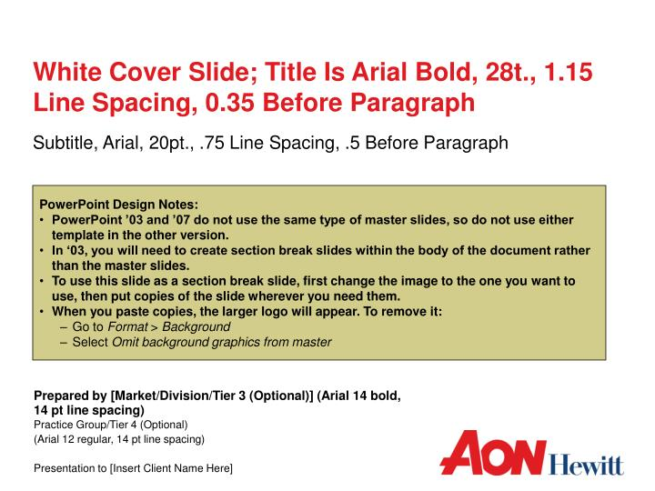 white cover slide title is arial bold 28t 1 15 line spacing 0 35 before paragraph n.