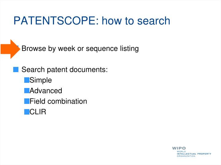 PATENTSCOPE: how to search