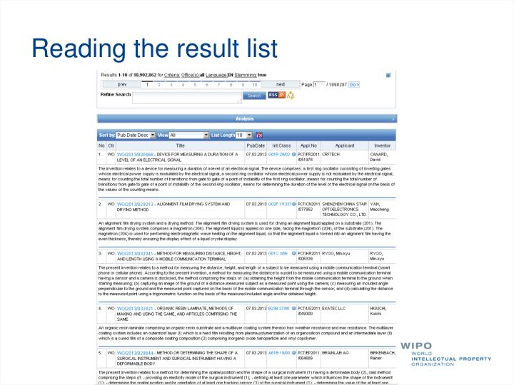 Reading the result list