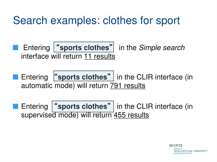 Search examples:
