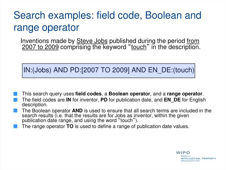 Search examples: field code, Boolean and range operator