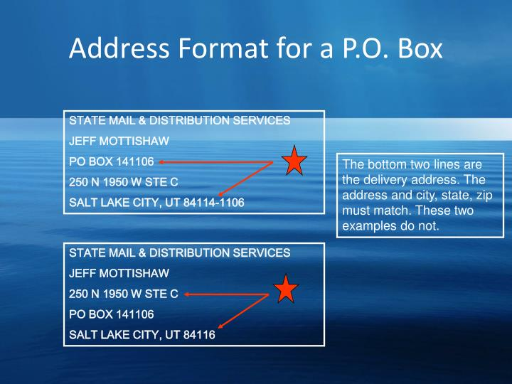 Address Format for a P.O. Box
