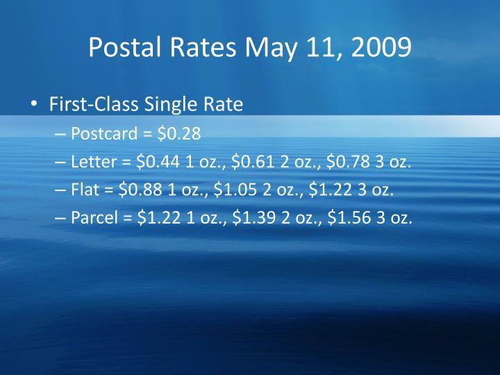 Postal rates may 11 2009