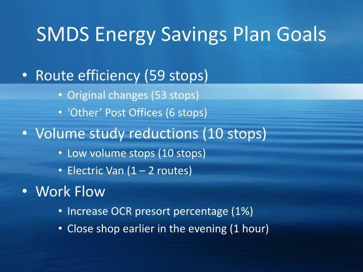 SMDS Energy Savings Plan Goals