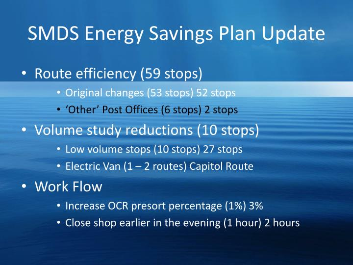 SMDS Energy Savings Plan Update