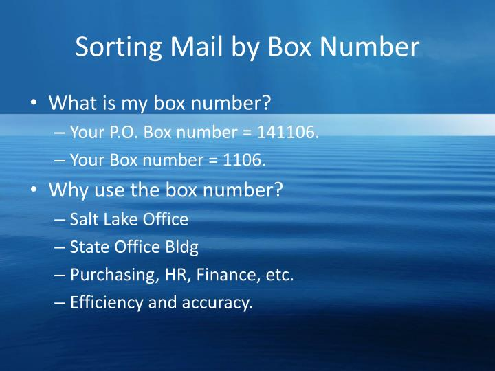 Sorting Mail by Box Number