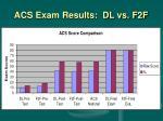 acs exam results dl vs f2f