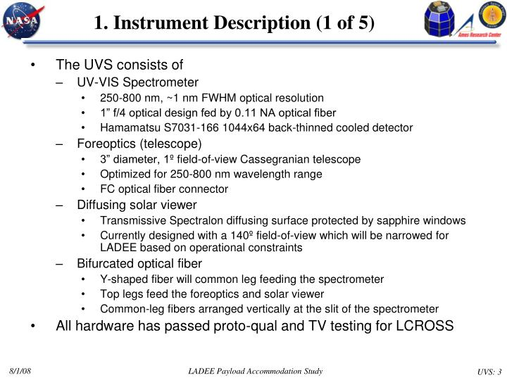 1 instrument description 1 of 5