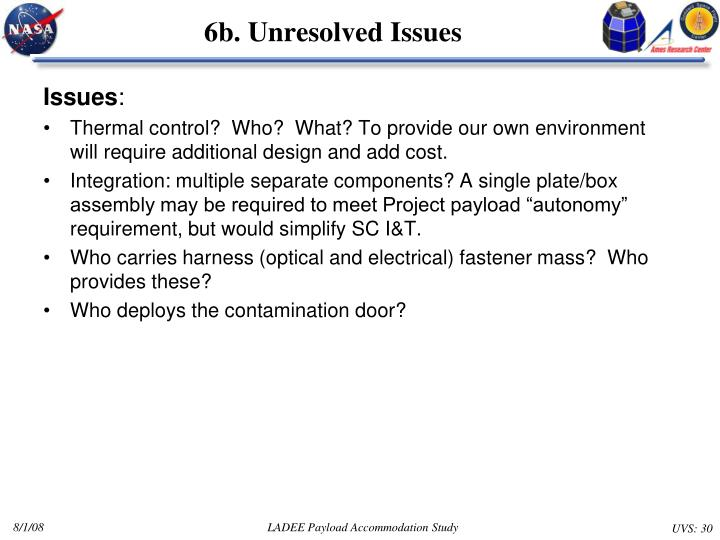6b. Unresolved Issues