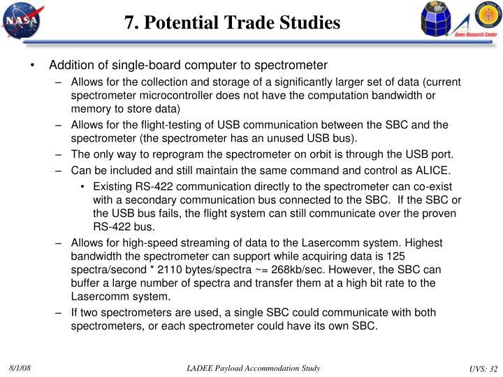 7. Potential Trade Studies