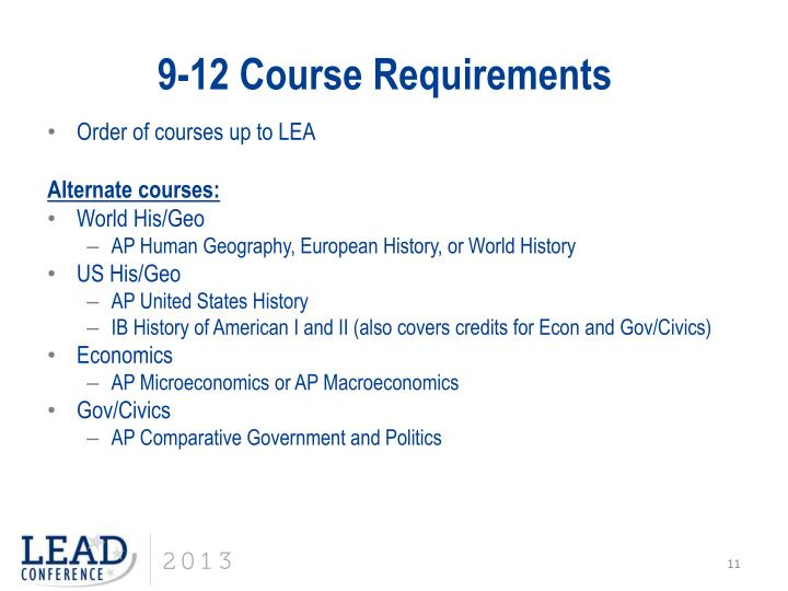 9-12 Course Requirements