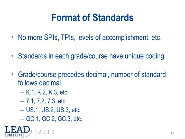 Format of Standards