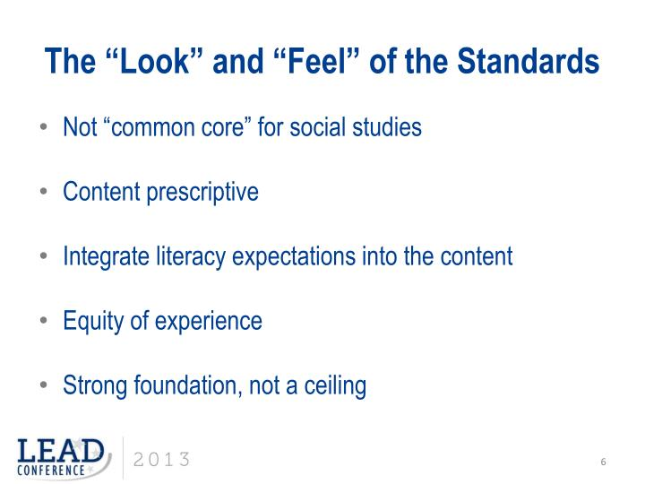 """The """"Look"""" and """"Feel"""" of the Standards"""