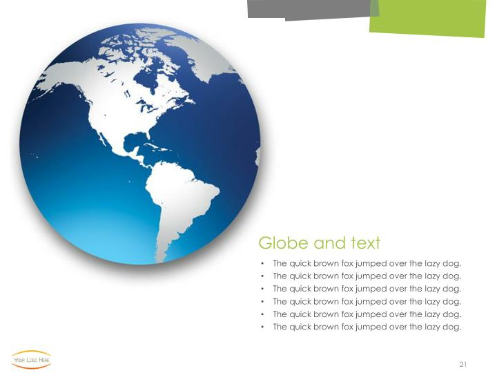 Globe and text