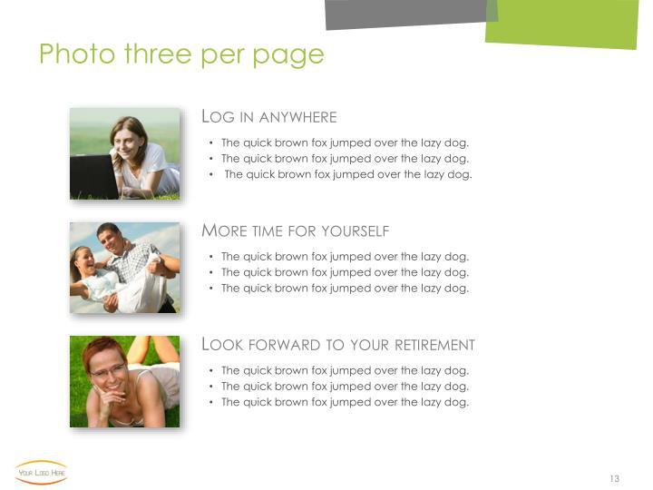 Photo three per page