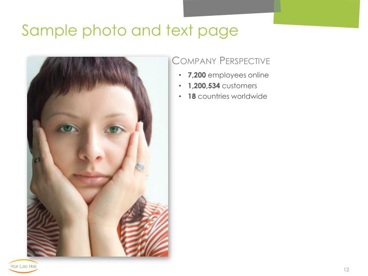 Sample photo and text page
