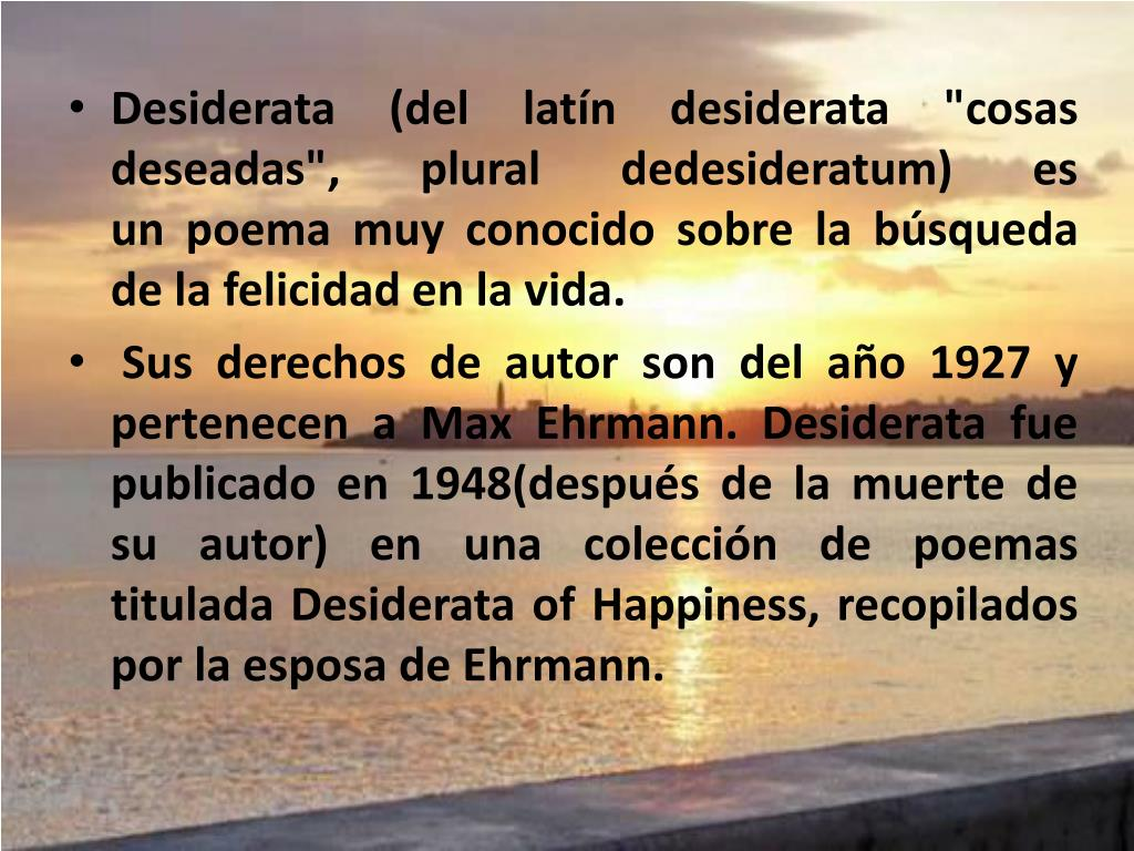 Ppt Desiderata Powerpoint Presentation Free Download Id