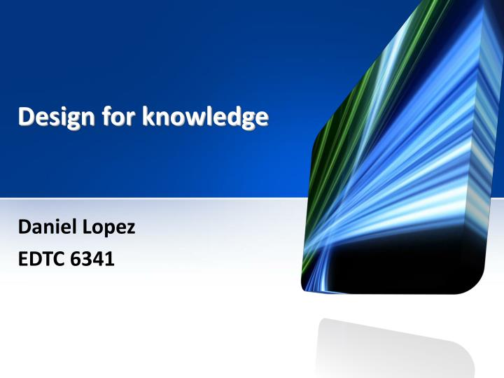 design for knowledge n.