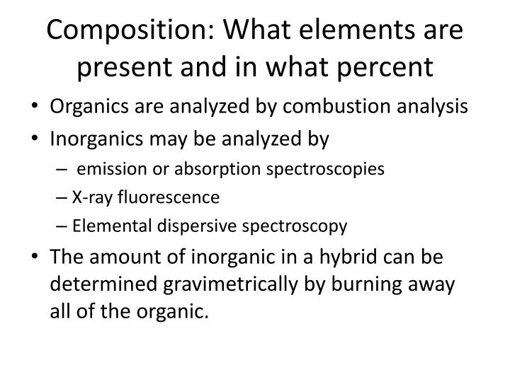 Composition: What elements are present and in what percent