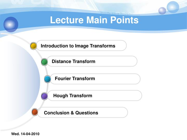 Lecture main points