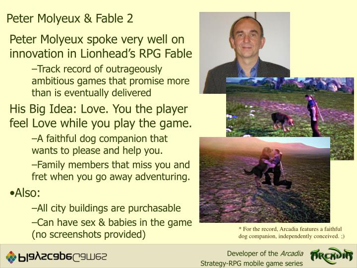 Peter Molyeux & Fable 2
