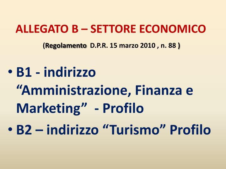 ALLEGATO B – SETTORE ECONOMICO