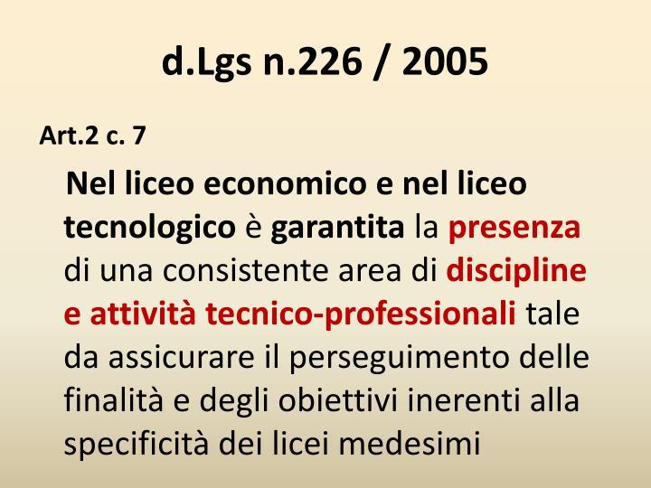 d.Lgs n.226 / 2005