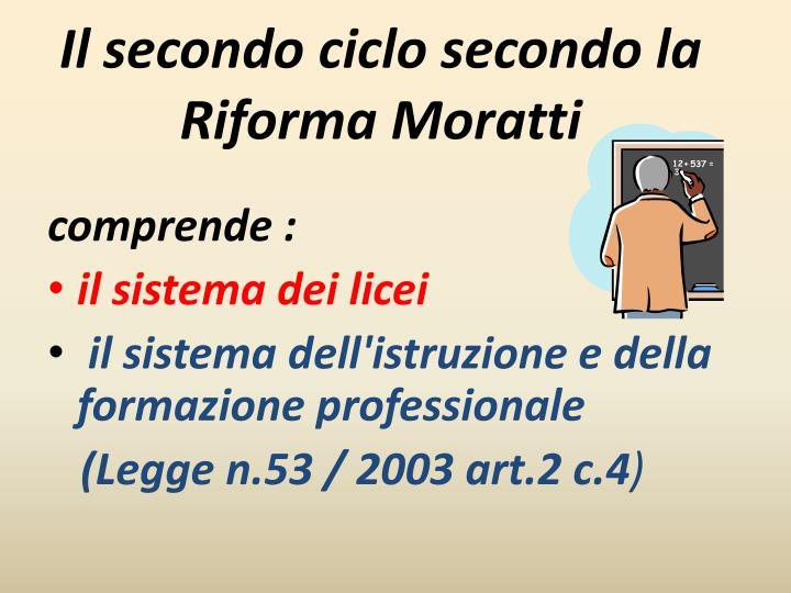 Il secondo ciclo secondo la Riforma Moratti