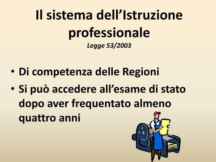 Il sistema dell'Istruzione professionale