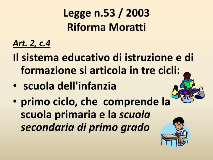 Legge n 53 2003 riforma moratti